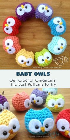 Crochet Amigurumi Patterns Baby Owl Ornaments Free Crochet Pattern - Sweet and very simple - that's how I like my last minute projects! With these cute Baby Owl Ornaments you can create stunning decoration for your Christmas tree Owl Crochet Patterns, Crochet Owls, Crochet Gifts, Baby Patterns, Crochet Stitches, Crochet Baby, Free Crochet, Knitting Patterns, Crochet Mittens