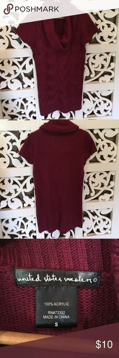 Turtleneck sweater tunic or dress NWOT Has threads for a belt that didn't come with it. Can easily be cut off. Short sleeve light weight sweater in burgundy. Cute with leggings and boots. United States Sweaters Sweaters