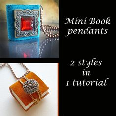 Make your own Mini Book Pendant Necklace by JewelryonPicadilly