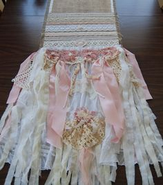 Burlap Table Runner French Country Cottage Farmhouse Ruffle Lace Pink Romantic Wedding  www.LaPetitePrairie.etsy.com
