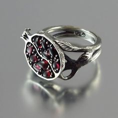 POMEGRANATE garnet silver ring by WingedLion on Etsy,