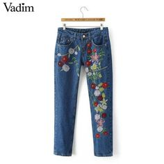 Colorful floral embroidery denim women jeans