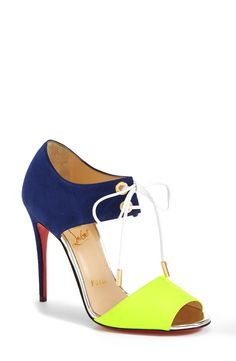 Adding these neon Christian Louboutin tie-up sandals to the wish list.