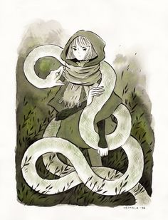 Inktober day 1, A witch and a white python familiar I'm drawing only witches this Inktober