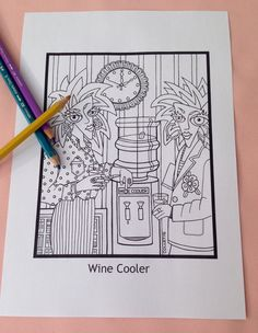 Wine Cooler  Adult Coloring Page to Print by ColletteByCollette