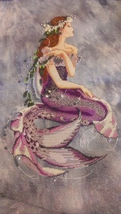 Enchanted Mermaid by Mirabilia Designs on 32 ct Moonlit Waters Opalescent Belfast by Under the Sea Fabrics.      Started November 15, 2012 ...