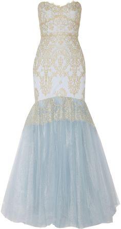 Notte by Marchesa Metallic lace-appliquéd tulle gown
