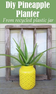 DIY Home Sweet Home: Diy Pineapple Planter From A Recycled Plastic Jar