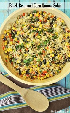 Warm Black Bean and Corn Quinoa Salad 4/13/15 easy and tasty - I subbed lentils, cooked in veggie broth. Combined just before served.