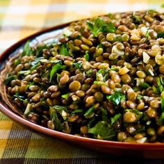 Recipe for Lebanese Lentil Salad with Garlic, Cumin, Mint, and Parsley from Kalyn's Kitchen