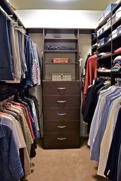 Compatible Open Closet Ideas in Modernistic and Organized Ways : Small Walk In Closet Organization Ideas-master closet Organizing Walk In Closet, Walk In Closet Small, Walk In Closet Design, Build A Closet, Small Closets, Closet Designs, Closet Storage, Narrow Closet, Storage Drawers