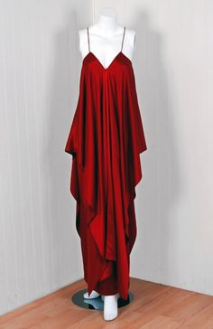 1970's Yves Saint Laurent Grecian Haute-Couture Red Satin Dress