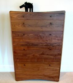 'Peter' tall boy by Sarah Kay. American Black Walnut, drawers leather lined. 2005