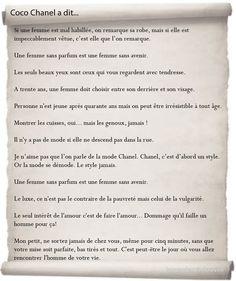 Coco Chanel, Citations en français