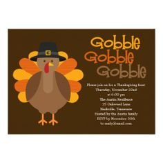 Gobble Gobble Thanksgiving Party Invitation