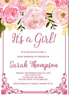 Free Baby Shower Invitations for Girls