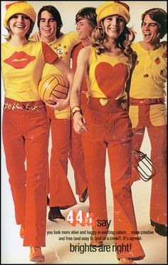 superseventies:    Brights Are Right! 1971 teen fashions.