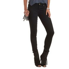 "Charlotte Russe Black Refuge ""Push Up Legging"" Lifting Skinny Jeans by... ($33) ❤ liked on Polyvore featuring jeans, black, skinny leg jeans, super skinny jeans, mid rise skinny jeans, stretch jeans and skinny fit jeans"