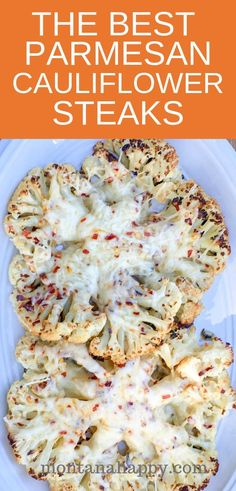 The Best Parmesan Cauliflower Steaks Recipe is AMAZING It s low carb vegetarian Keto friendly - and delicious Super simple to make it will be a family favorite vegetarianrecipe cauliflowerrecipe ketocauliflowerrecipe lowcarbcauliflowerrecipe Steak Recipes, Keto Recipes, Healthy Recipes, Low Carb Vegitarian Recipes, Keto Foods, Keto Meal, Cheese Recipes, Healthy Meals, Crockpot Recipes