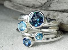Stacking Rings-BIG Blue Topaz and Sterling Silver-Chunky Stacker Set-Mystic Blue Topaz Stack Rings -Ocean Blue, Aqua, Teal Gemstone Jewelry. $185.00, via Etsy.