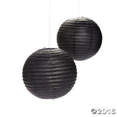 Black Hanging Paper Lanterns - OrientalTrading.com