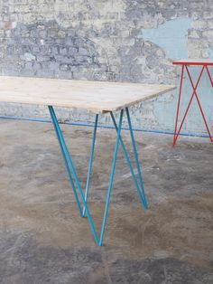 Zigzag trestle legs in turquoise by Mirka Grohn and Jo Wilton for &New. Factory photo shoot #andnewfurniture