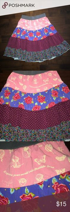 """Matilda Jane Girl's Skirt Paint By Numbers 10 Very gently worn with no holes, rips, or stains. Measures 20.5"""" from waist to hem. 95% Cotton 5% Spandex. From the Paint by Numbers collection. Matilda Jane Bottoms Skirts"""