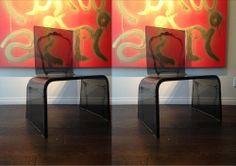 Designlush presents A.R.T. special edition acrylic dining chairs by aaron r. thomas Lucite Furniture, Acrylic Furniture, Luxury Furniture, Acrylic Dining Chairs, Modern Dining Chairs, Dinning Room Tables, Modern Masters, Exposed Wood, Furniture Making
