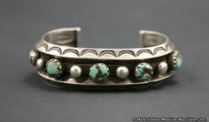 Navajo Turquoise and Silver Bracelet     circa 1920