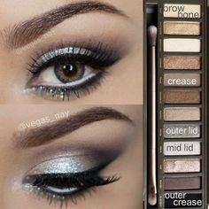 Glamorous silver smokey eye using Urban Decay Naked 2 palette. Great for prom or other formal occasions! Glamorous silver smokey eye using Urban Decay Naked 2 palette. Great for prom or other formal occasions! Kiss Makeup, Prom Makeup, Love Makeup, Makeup Tips, Makeup Looks, Hair Makeup, Makeup Ideas, Wedding Makeup, Makeup Tutorials