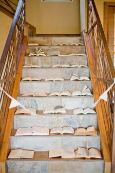 dress up your stairs for a book themed party
