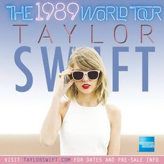 """NEWS: The pop artist, Taylor Swift, has announced """"The 1989 World Tour,"""" with Vance Joy and Shawn Mendes, in support of her latest album, 1989. The tour will be hitting cities across North America, Europe and the UK, in 2015. You can check out the dates and details at http://digtb.us/1Ep4pje"""