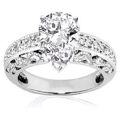 Buy.com - 1.35 Ct Pear Shaped Diamond Vintage Engagement Ring W Milgrain CUT:VERY GOOD SI1