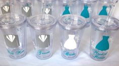 Bride and Bridesmaids Tumblers 1 wedding party by WaterfallDesigns, $13.00