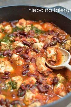 szybki kurczak wpomidorach zfasolą Healthy Meal Prep, Healthy Recipes, I Love Food, Good Food, Tasty Dishes, Indian Food Recipes, Appetizer Recipes, Food Inspiration, Chicken Recipes