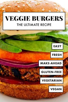 This veggie burger recipe is truly the BEST! These foolproof veggie burgers are completely delicious and easy to make. You can grill them, or bake them in the oven, or cook them on the stove! This recipe is vegetarian, vegan, egg free, nut free, and easily gluten free. #veggieburgers #burgers #vegetarian #vegan #cookieandkate Vegan Egg, Vegan Vegetarian, Vegetarian Recipes, Healthy Recipes, Vegetarian Sandwiches, Vegetarian Barbecue, Healthy Sandwiches, Vegetarian Dinners, Vegetarian Options