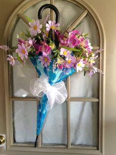 Umbrella spring wreath by PatriciaAgostinelliH on Etsy