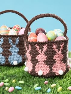 Bunny Egg Basket - Free Crochet Pattern - (yarnspirations)