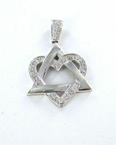 14KT WHITE GOLD PENDANT STAR OF DAVID HEART 20 DIAMOND CHARM 1.7DWT JEWISH LOVE