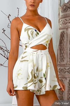 V-neck Sleeveless Floral Print Playsuit with Cut Out Details  -YOINS