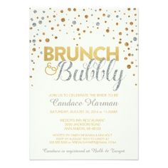 268 best bridal shower invitations and ideas images on pinterest in gold and silver silver and gold glitter brunch and bubbly bridal shower invitations filmwisefo