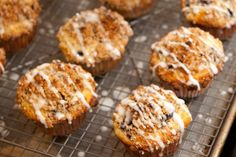 Top of the Muffin to You! Cornmeal blueberry streusel topped muffins with lemon glaze -