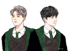 Bangtan at Hogwarts au Seven boys and one girl running amuck at the … # Fan-Fiction # amreading # books # wattpad Yoonmin Fanart, Jimin Fanart, Kpop Fanart, Slytherin, Hogwarts, K Pop, Bts Art, Bts Imagine, The Scene