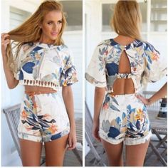 Cool! Round Neck Hollow Backless Floral Tow Pieces Suits Jumpsuit just $22.99 from ByGoods.com! I can't wait to get it!