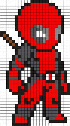 Deadpool Perler Bead Pattern / Bead Sprite: