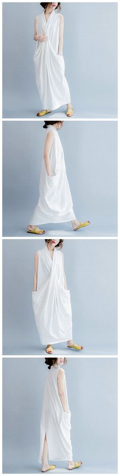 WHITE SLEEVELESS CROSS PLUS SIZE OVERSIZE LONG DRESSES