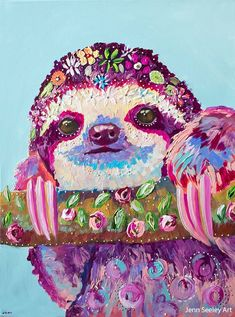 Another great find on Daisy Sloth Print Baby Sloth, Cute Sloth, My Spirit Animal, Affordable Art, Illustrations, Beautiful Cats, Art Inspo, Rock Art, Cute Animals