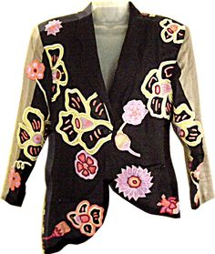 Everything European Fashion is 50% OFF  Use Coupon. insanely chic Jacket here !! Designer Clothes Jacket Clubwear OOAK Petra Bloch Design Italy Application sz 8