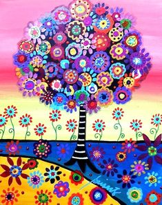 Tree Painting - Tree Of Life by Pristine Cartera Turkus Tree Of Life Painting by Pristine Cartera Turkus Tree Of Life Painting, Tree Of Life Artwork, Artwork Wall, Art Fantaisiste, 5d Diamond Painting, Mexican Folk Art, Naive Art, Whimsical Art, Oeuvre D'art