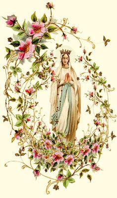 Carte de communion hommage à Notre Dame de Lourdes jaillissant d'une brassée de fleurs, www.imagesdecommunion.com